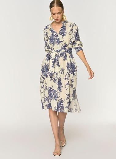 Loves You Hakim Yaka Kimono Elbise Mavi